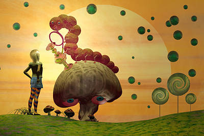 Mushroom Digital Art - Alice And The Caterpillar  by Carol and Mike Werner