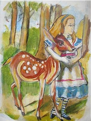 Painting - Alice And The Deer by Denice Palanuk Wilson