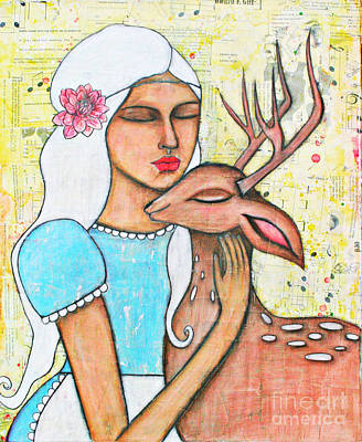 Painting - Alice And The Fawn by Natalie Briney