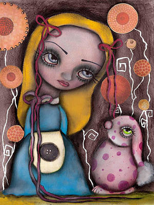 Painting - Alice And The Pink Bunny by  Abril Andrade Griffith