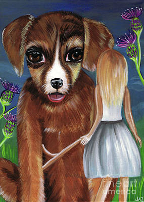 Childrens Story Book Painting - Alice And The Puppy by Jaz Higgins