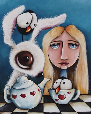 Alice Wonderland Painting - Alice And The White Rabbit by Lucia Stewart