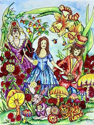 Mad Hatter Painting - Alice by Angela Angelilli- Mowery
