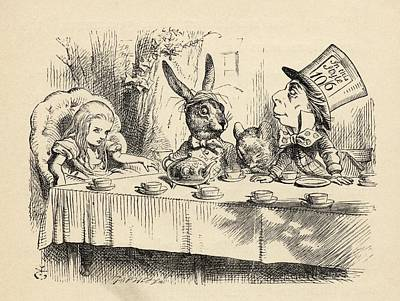 Alice At The Mad Hatter S Tea Party Art Print by Vintage Design Pics