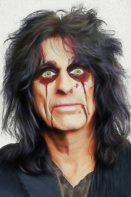 Digital Art - Alice Cooper Killer by John Haldane