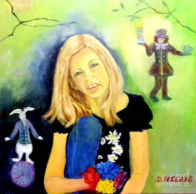 Alice In Wonderland Painting - Alice In Garden by Dagmar Helbig