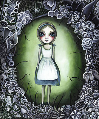 Surreal Pansies Painting - Alice In The Deadly Garden by Jaz Higgins