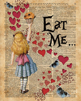 Invitations Mixed Media - Alice In The Wonderland Eat Me Muffin  by Jacob Kuch