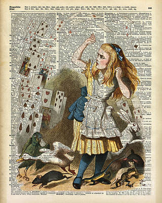 Drawing - Alice In The Wonderland On A Vintage Dictionary Book Page by Jacob Kuch