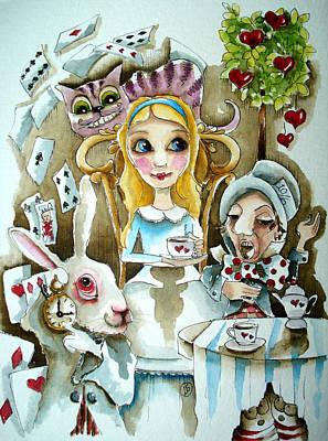 White Rabbit Painting - Alice In Wonderland 1 by Lucia Stewart