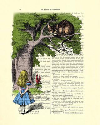 Shower Digital Art - Alice In Wonderland And Cheshire Cat by Madame Memento