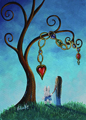 Alice In Wonderland Art - Alice And The Jeweled Tree Print by Shawna Erback