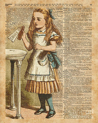 Digital Art - Alice In Wonderland Drink Me Vintage Dictionary Art Illustration by Jacob Kuch