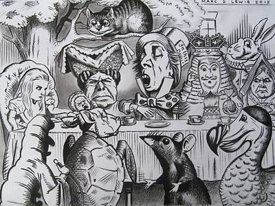 Cheshire Wall Art - Drawing - Alice In Wonderland by Marc D Lewis