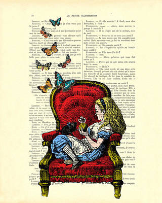 Alice In Wonderland Playing With Cute Cat And Butterflies Art Print by Madame Memento