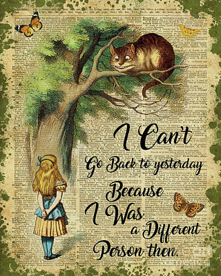 Alice In Wonderland Quote,cheshire Cat,vintage Dictionary Art Art Print by Jacob Kuch