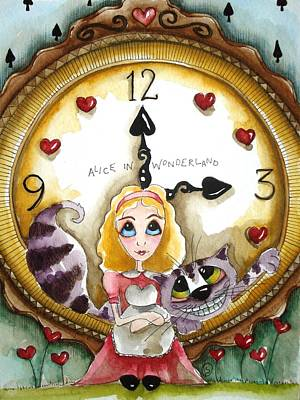 Cheshire Cat Painting - Alice In Wonderland Tick Tock by Lucia Stewart