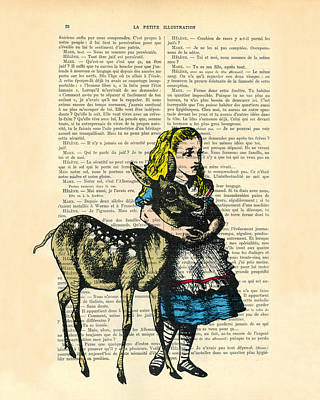 Shower Digital Art - Alice In Wonderland With Fawn In Color Antique Illustration by Madame Memento