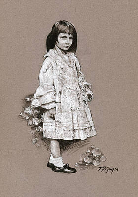 Wall Art - Drawing - Alice Liddell Drawing After A Charles Dodgson Photograph by Terry Guyer