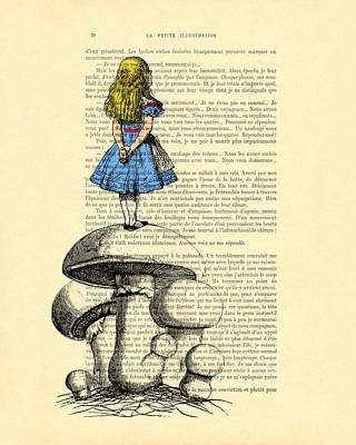 Alice In Wonderland Standing On Giant Mushroom Art Print by Madame Memento