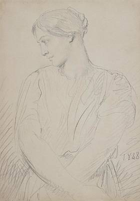 Pensive Drawing - Alice Ozy by Theodore Chasseriau