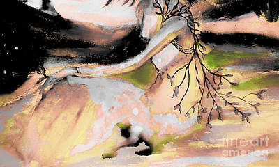 Mountain Sunset Mixed Media - Alice Rosy In The Creek by Sherry Alice Roberts