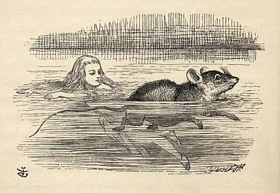 Tear Drawing - Alice Swimming With A Mouse In The Pool by Vintage Design Pics