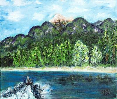 Painting - Alice Tubing On Hungry Horse  Reservoir by Lucille  Valentino