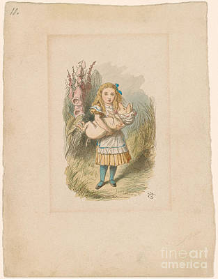 Little Girls In Garden Painting - Alice With Baby Pig by MotionAge Designs