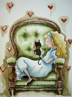 Alice Wonderland Painting - Alice With Dinah's Kitten by Lucia Stewart