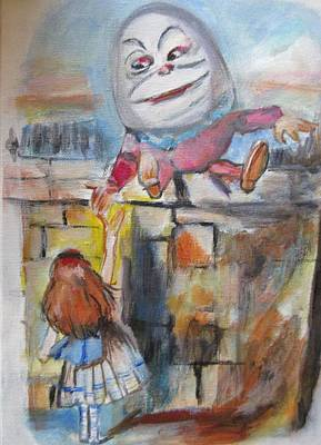 Mixed Media - Alice With Humpty Dumpty by Denice Palanuk Wilson
