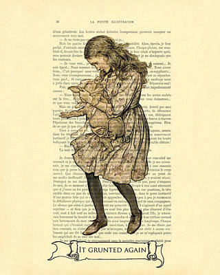 Alice In Wonderland With The Pig Art Print by Madame Memento