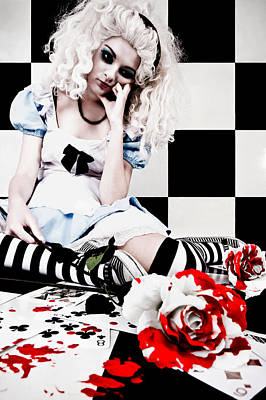 Checkered Black-and-white Photograph - Alice2 by Kelly Jade King