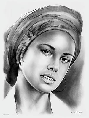 Rhythm And Blues Drawing - Alicia Keys 2 by Greg Joens
