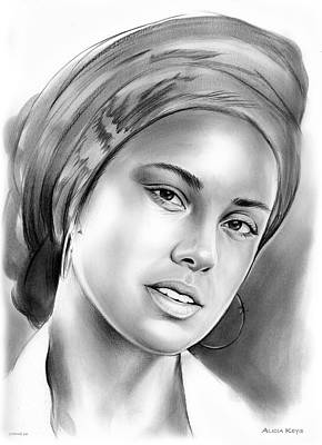 Rhythm And Blues Drawing - Alicia Keys by Greg Joens
