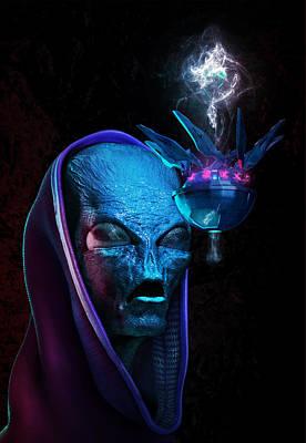 Digital Art - Alien Bust by Ryan Darling