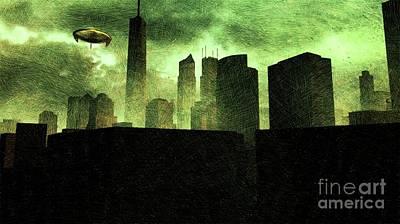 Fantasy Drawings - Alien City by Raphael Terra