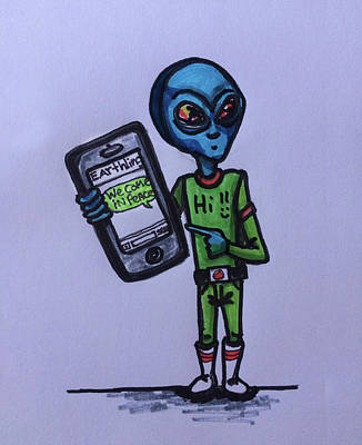 Drawing - Alien Communication by Similar Alien