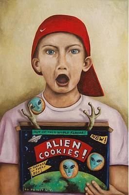 Spaceship Painting - Alien Cookies by Leah Saulnier The Painting Maniac