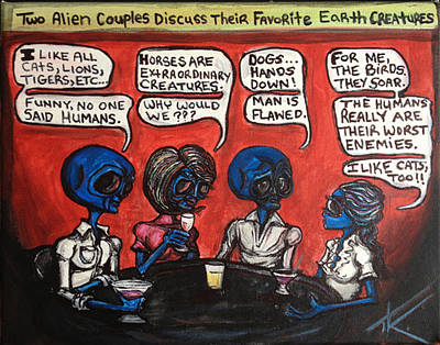 Painting - Alien Couples Discuss The Earths Creatures Over Drinks by Similar Alien