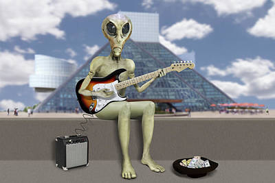 Alien Guitarist 2 Art Print
