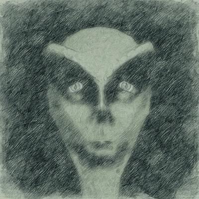 Animals Drawings - Alien Head Sketch by Esoterica Art Agency