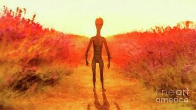 Monster Ufo Wall Art - Painting - Alien In The Meadow by Raphael Terra
