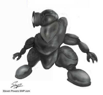 Drawing - Alien Invader by Steven Powers SMP