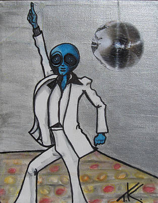 Alien Night Fever Art Print by Similar Alien