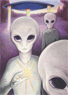 Aliens Drawing - Alien Offering by Amy S Turner