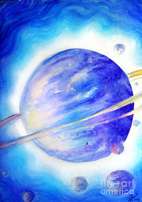 Planet Fantastic Painting - Alien Planet. Blue Light Of Hope by Sofia Metal Queen