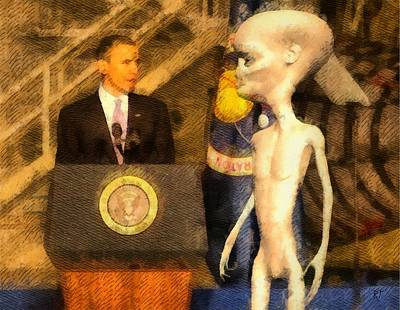 Obama Painting - Alien President by Raphael Terra