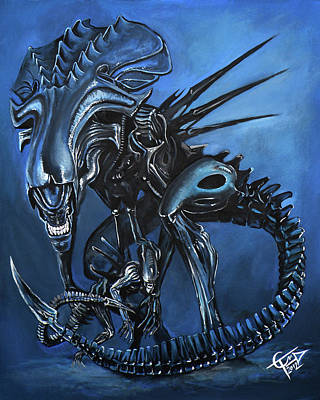 Aliens Painting - Alien Queen by Tom Carlton