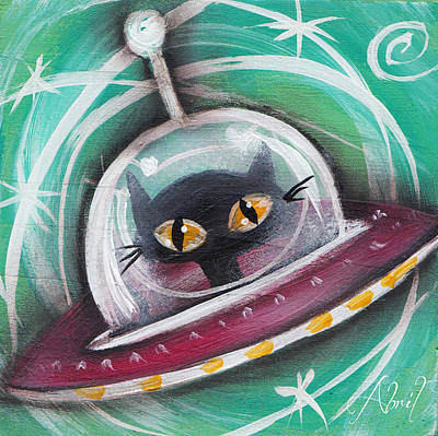 Pop Surrealism Painting - Alien Saucer Black Space Cat  by Abril Andrade Griffith